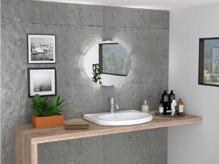 Espejo de baño ovalado con iluminación LED
